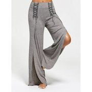 High Slit Palazzo Pants with Lace Ups