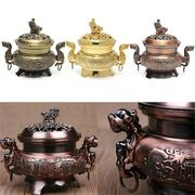 Alloy Double Dragon Hollow Cover Incense Burner Censer Aromatherapy Home Deco Crafts