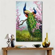 Art Print Peacock Canvas Painting Frameless