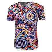 Mens Summer National Style Flower Printing Short Sleeve O-neck Casual T-shirt