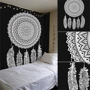 210x145cm Dream Catcher Black And White Mandala Tapestry Wall Hanging Indian Cotton Blanket
