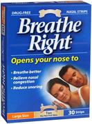 Breathe Right Nasal Strip Clear Large 30 Pack