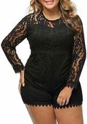 Plus Size Solid Lace Floral Splicing Romper