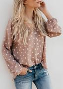 Polka Dot Button V-Neck Blouse
