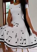 Music Symbol Printed Casual Dress - White