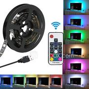 KWB 5V RGB Strip Lights 180 LEDs 5050 SMD 3M LED Strip Light 17-Key Remote Controller RGB TV Background Light