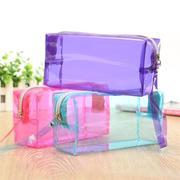 Clear Cosmetic Bags Pouch Zipper Toiletry Multi Functional Plastic PP Bag Lady Makeup Case L Size
