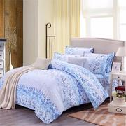 3 or 4pcs Suit Blue Flowers Reactive Dyeing Polyester Fiber Bedding Sets Twin full Queen Size
