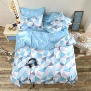 3 or 4pcs Suit Blue Geometric Pattern Reactive Dyeing Polyester Bedding Sets Single Twin Queen Size
