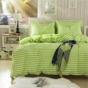 3 or 4pcs Suit Green Stripe Reactive Dyeing Polyester Fiber Bedding Sets Single Twin Size