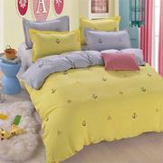 3 or 4pcs Suit Yellow and Grey Sailing Diary Reactive Dyeing Polyester Fiber Bedding Sets 3 Size