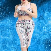Sexy Printing Patchwork Mesh Leggings Cropped Trousers Yoga Sport Suit For Women
