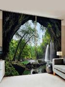 2 Panels Forest Waterfall Cave Print Window Curtains