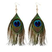 Peacock Feather Dangle Earrings