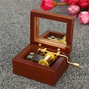 Vintage Square Hand Crank Wooden Music Box