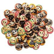 80pcs Mixed Color Wooden Animal Sewing Buttons DIY Craft Purse Baby Clothes Decoration Button