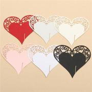 50Pcs Heart Shape Laser Cut Pearlescent Paper Wedding Name Place Cards  Wine Glass Party Accessories
