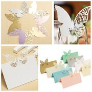 20Pcs Butterfly Wedding Name Place Cards Wine Glass Laser Cut Pearlescent Card Party Accessories