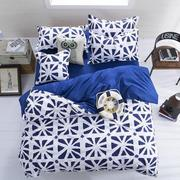 3 Or 4pcs Polyester Fiber Blue White Reactive Dyeing Bedding Sets Single Twin Queen Size