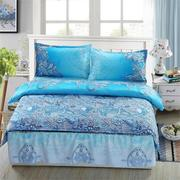 4pcs Suit 3D Blue Pattern Reactive Dyeing Polyester Fiber Bedding Sets Queen Size
