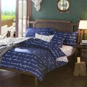 3 Or 4pcs Polyester Fiber Blue Letters Reactive Dyeing Bedding Sets Single Queen Size
