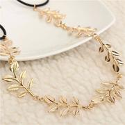 Women Golden Leaves Leaf Headband String Chain Hair Accessories