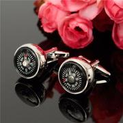 Men Silver Cufflinks Cloisonne Compass Cufflinks Wedding Business Shirt Accessories