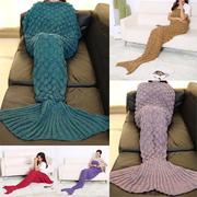 195x90cm Yarn Knitted Mermaid Tail Blanket Handmade Crochet Throw Super Soft Sofa Bed Mat