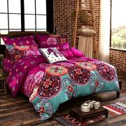 4Pcs Oriental Mandala Polyester Twin Full Queen Size Bedding Pillowcases Quilt Duvet Cover Set