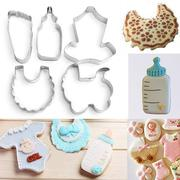 5 x Baby Clothes Bib Bottle Stroller Foot Fondant Baking Cookie Cutter Mold Set