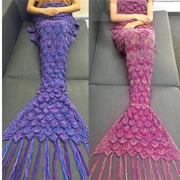 85x190cm Mermaid Tail Sofa Blanket Soft Warm Hand Crocheted Knitting Wool For Adult