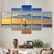 5Pcs Artistic Dusk Sea Painted Decoration Bedroom Wall Art Home Decor