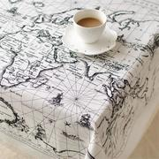 World Map Pattern Cotton Linen Tableware Mat Table Cloth Desk Cover Heat Insulation Bowl Pad 3 Size