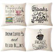 Coffee Books Theme Pillow Case Sofa Seat Back Cushion Cover