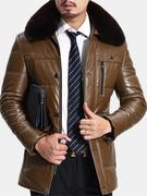 Chest Pocket Fleece Collar Faux Leather Jacket