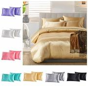 2pcs Imitation Silk Pillow Case Cushion Cover Bags Stand Queen King Size Bedding Sets