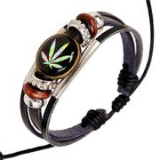 Time Gem Cabochon Leather Bracelet