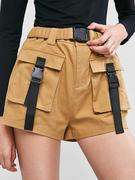 ZAFUL Buckled Pockets Belted Zipper Shorts