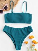ZAFUL Textured Bandeau Bikini Set