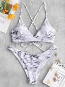 ZAFUL Cross Marble Lace-up Bikini Set