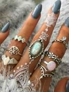 8 Piece Retro Floral Crown Carved Finger Rings Set