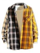Contrast Plaid Print Button Up Pocket Shirt