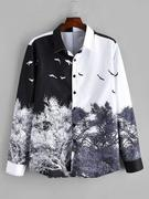 Chinese Style Tree Print Long Sleeve Shirt