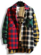 Colorblock Plaid Panel High Low Shirt