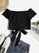 ZAFUL Off Shoulder Ribbed Knotted Frilled Crop Tee