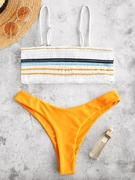 ZAFUL Striped Smocked Bikini Set