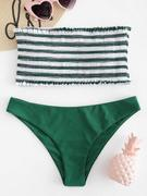 ZAFUL Stripe Smocked Bandeau Bikini Set