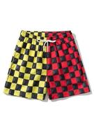 Colorblock Checkerboard Pattern Shorts