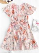 Floral Ruffles Belted Flutter Sleeve Surplice Dress