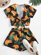 Bananas Print Tie Front Two Piece Set